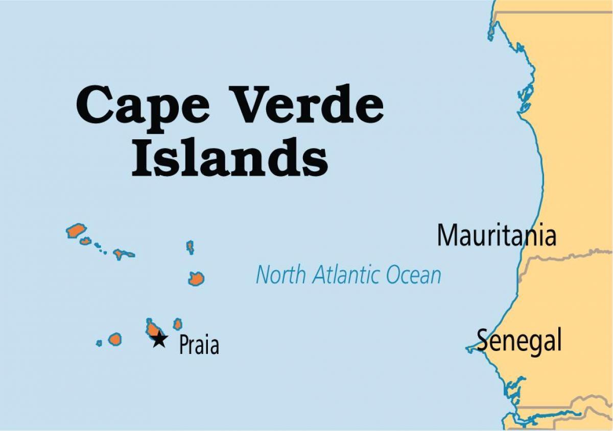 kapp kart Kart som viser Cape Verde øyene   Kart over kart som viser Kapp  kapp kart